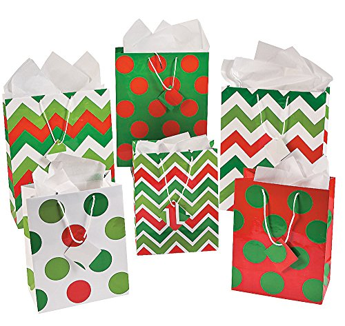 Fun Express Gift Bags - Assorted Chevron and Polka Dot Design Gift Bags - 24 Pieces