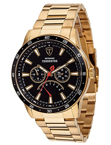 DETOMASO Terrestre Multifunctional Mens Wrist Watch Gold Plated Stainless Steel Casing and Strap, Black Dial, Date, Week and weekday display
