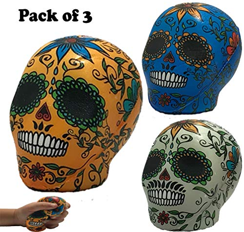 Squishies Day The Dead Sugar Skulls | Pack of 3 Large Slow Rising Dough Squishy | Jumbo Cream Scented Brilliant Colors | Celebrate Dios De Los Muertos | Great Cheap Prime Toy Package
