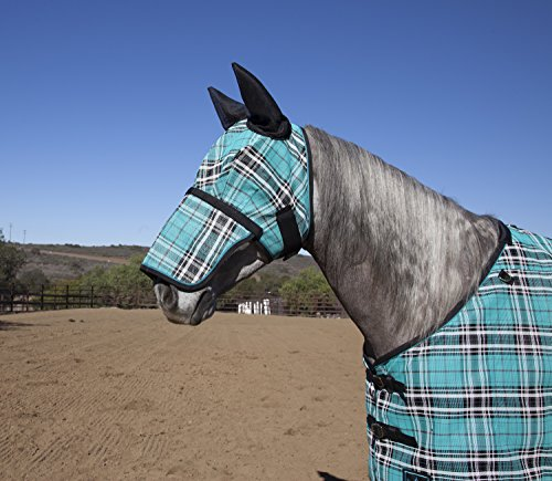 Kensington Fly Mask with Removable Nose Piece and Soft Ears, Black Ice Plaid, Large