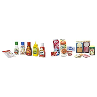 Melissa & Doug 5-Piece Favorite Condiments Play Food Set & Let's Play House Fridge Fillers (Pretend Play Grocery Toys, 20 Pieces, Great Gift for Girls and Boys - Best for 3, 4, 5, and 6 Year Olds): Toys & Games