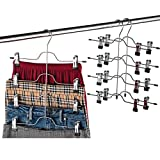 closet organization tips Zober Space Saving 4 Tier Skirt Hanger with Adjustable Clips (3 Pack) 4-on-1 Hanger, GAIN 50% More Space, Reliable Non Slip Grip, Durable Metal Pants Hanger Great for Slack, Trouser, Jeans, Towels Etc