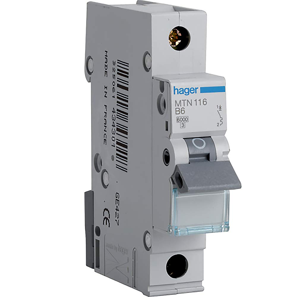 Hager Mtn116 Miniature Circuit Breaker 1 Pole Module Type B 6 Home Dzine Diy What To Do When A Trips Ka Breaking Capacity 16 Current Business Industry Science