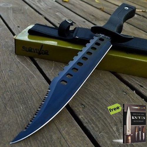 "17"" RAMBO TACTICAL Combat Survival FIXED BLADE Carbon Steel Razor Sharp Blade Knife Machete Bowie w/SHEATH + Free eBook by SURVIVAL STEEL"