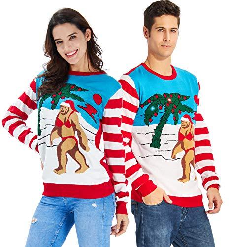 Unisex's Ugly Christmas Sweater Funny Santa Wearing Bikini Hawiian Beach Tree Sunset Xmas Sweater Knitted Crewneck Striped Pullover ()