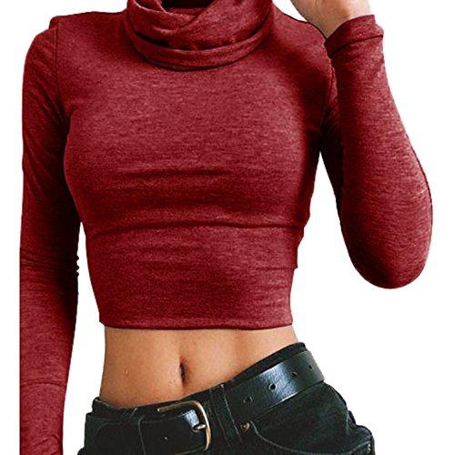 Chemisiers t Crop Haut Couleur Shirts T Manches Court Femmes Vin Haut Longues Col Unie Tops Rouge Serr 7qrHgT7fnW