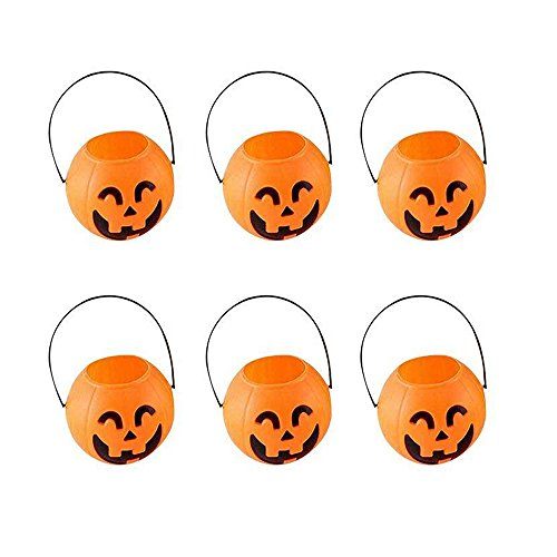 BinaryABC Halloween Pumpkin Buckets,Halloween Candy Basket,Trick or Treat Bucket,Halloween Party Supplies 7cm(6Pcs)]()