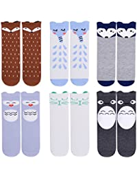 Unisex Baby Girls Socks,Gellwhu 6 Pairs Toddler Boy Animal Knee High Socks
