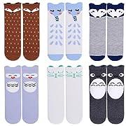 Unisex Baby Girls Socks,Gellwhu 6 Pairs Toddler Boy Animal Knee High Socks (0-12 Months, 6-Pack Set B)