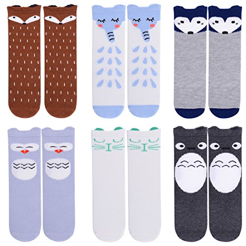 Unisex Baby Girls Socks,Gellwhu 6 Pairs Toddler Boy Animal Knee High Socks (1-3 Years, 6-Pack Set B)