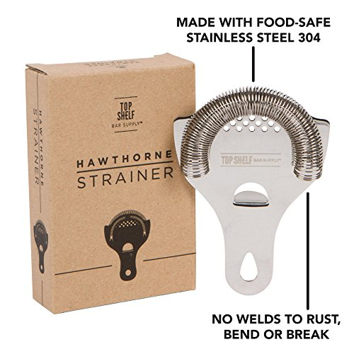 Hawthorne Cocktail Strainer - Stainless Steel Strainer for Professional Bartenders and Mixologists by Top Self Bar Supply by Top Shelf Bar Supply (Image #2)
