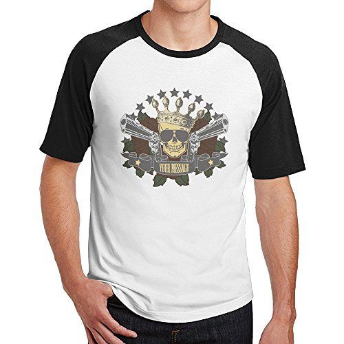 Men's Your Message Skull With Two Guns And Crown Hot T Shirt Black Retro Style Ringers ()