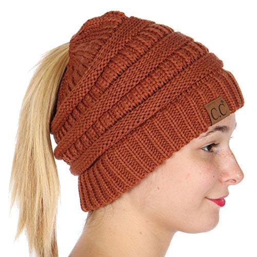 SERENITA C.C Unisex Classic Beanie Tail Solid Ponytail Cap Hat Rust