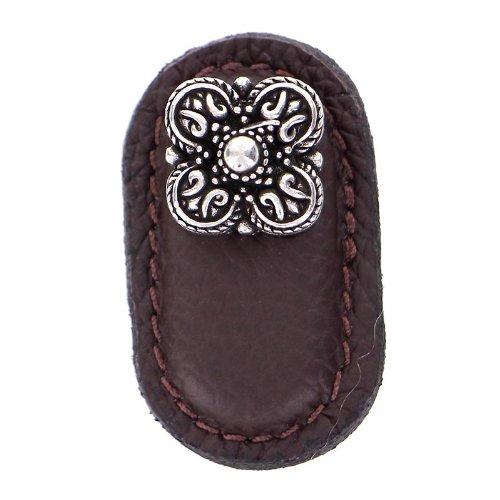 Vicenza Designs K1187 Napoli Leather Knob, Large, Brown, Vintage Pewter