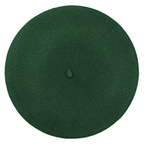 French Beret-100% Wool Solid Color Womens Beanie Cap Hat By ICSTH (One size, Green) (Green Beret Hat)