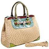 MG Collection KAEDE Classy Beige Ostrich Embossed w/ Faux Crocodile Accents Office Tote Purse, Bags Central