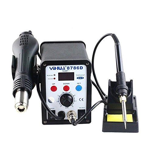 YiHUA 8786D Soldering Rework Station Hot Air Gun Solder Iron Welder Kit LCD Display