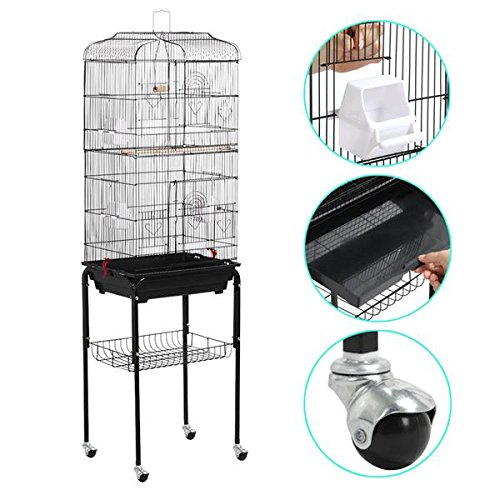 Yaheetech-622-Large-Rolling-Bird-Cage-Parrot-Finch-Aviary-Pet-Perch-wStand-Black