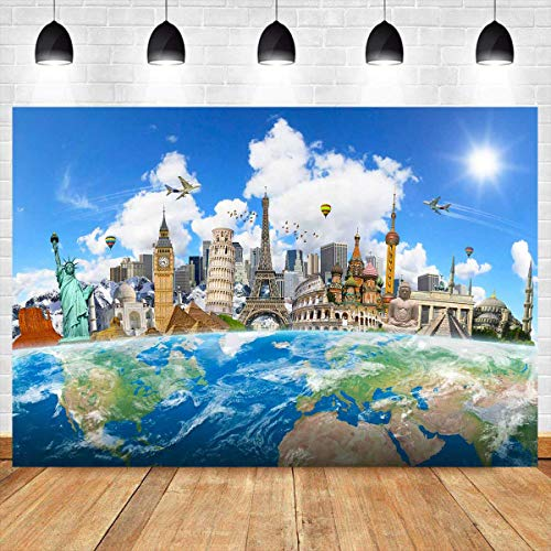 Global Travel Backdrop 7x5ft World Map Worldwide Famous Landmark Buildings Photography Background Paris Eiffel Tower Backdrop Wallpaper Vinyl Photo Booth Studio Props CHE005 LELEZ