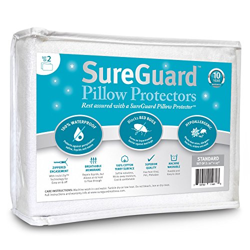Set of 2 Standard Size SureGuard Pillow Protectors - 100% Waterproof, Bed Bug Proof, Hypoallergenic - Premium Zippered Cotton Terry Covers - 10 Year Warranty (Cases Allergen Proof Pillow)