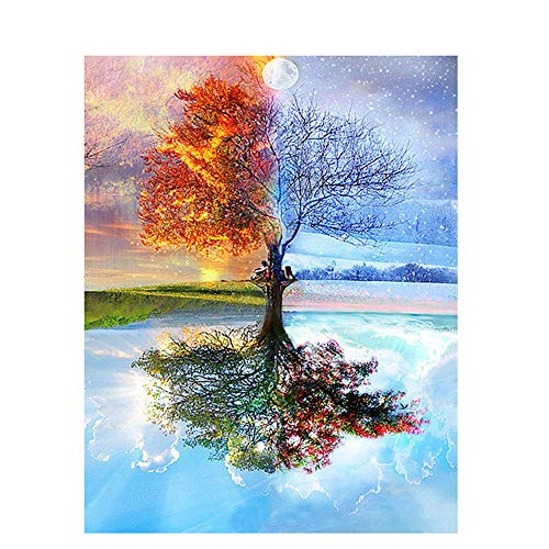 Paint by Numbers Kit, DIY Creative Painting on Canvas 16x20inch, Four Seasons Tree