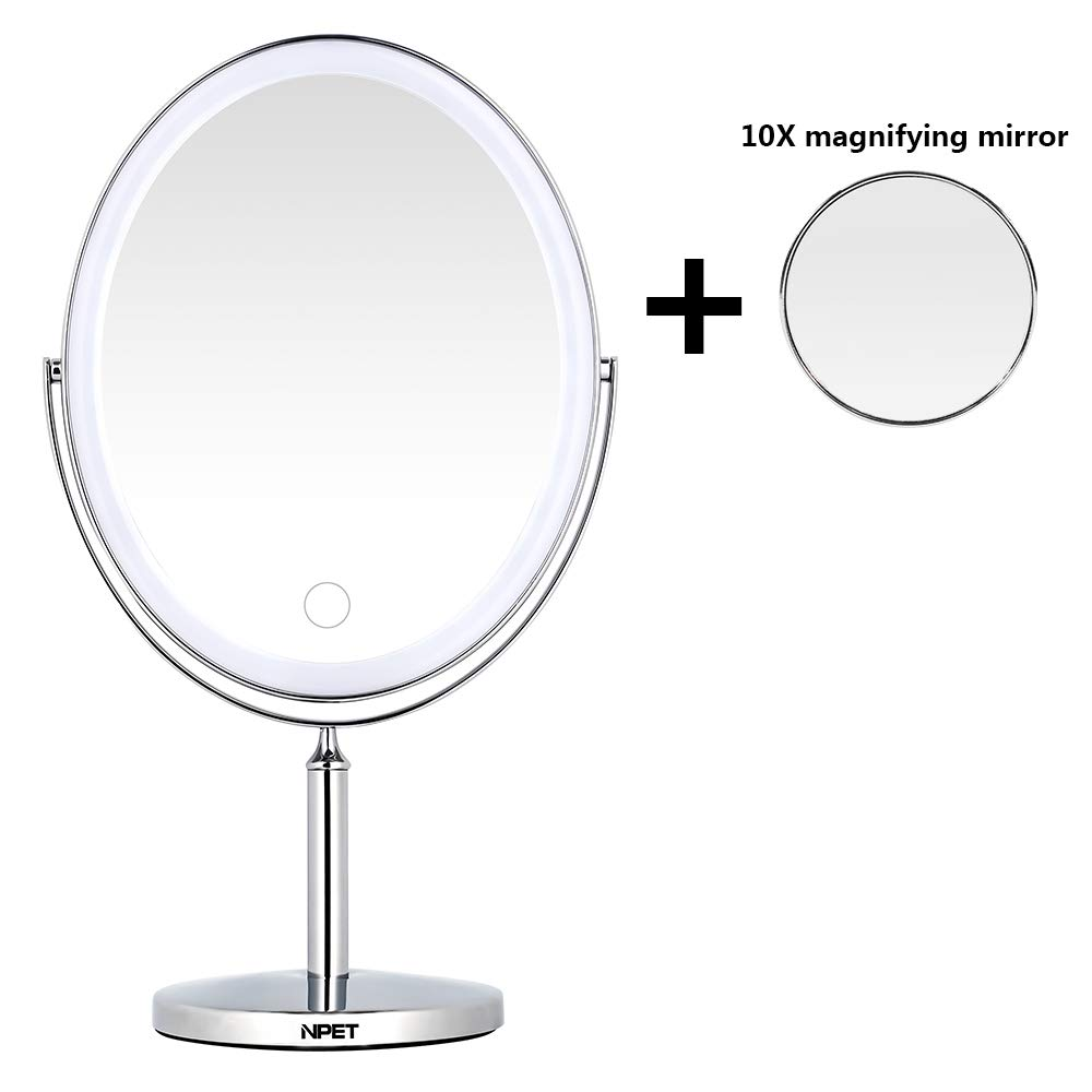 NPET Double Sided Lighted Vanity Makeup Mirror Ultra-thin Rechargeable Wireless Portable and Plug-in Dual-use 1x/5x/10x Magnification by NPET