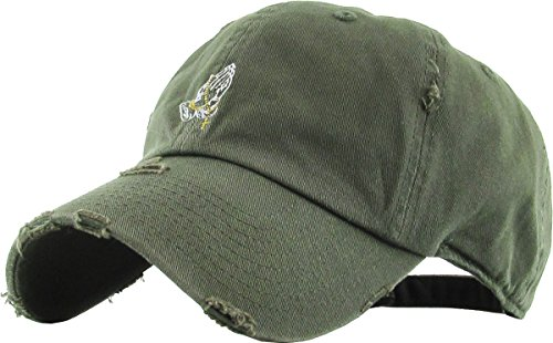 KBSV-061 OLV Praying Hands Vintage Rosary Distressed Dad Hat Baseball Cap Polo Style Adjustable