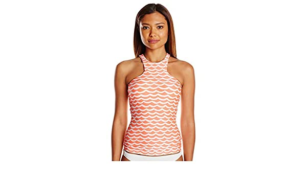 5bf426bf7 Seafolly Women's Block Party High Neck Singlet Tankini Swimsuit Top, Tidal  Wave Nectarine/White, 6 US: Amazon.com.au: Fashion