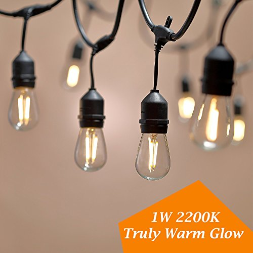 keymit 2Pack - 2Sets of LED New 48Ft Truly Warm Glow Effect S14 1W 2200K 80LM Clear Glass 1Spare LED Outdoor String Lights 15Sockets Vintage Ambience 2Pack