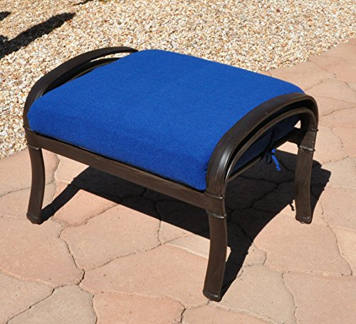CushyChic Outdoors Terry Slipcover for Ottoman Cushion, in Nautical Blue - Slipcover Only - Cushion Insert NOT Included (Replacement Cushion Seating Outdoor Covers Deep)