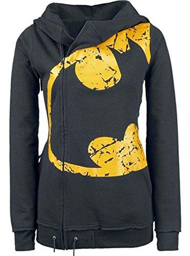 Topfly Women's Retro Batman Printed Zip Blazer Sweatshirt Hoodies Jacket (Black) US M(Tag XL)