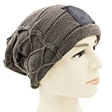 MJ-Young Trendy Warm Oversized Chunky Soft Stretch Cable Knit Slouchy Beanie Skully Khaki OneSize
