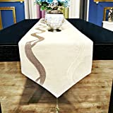 Table Runners modern chinese simple cotton linen table flag embroidery table runner hotel table decorative fabric bed flag-A 34x260cm(13x102inch)
