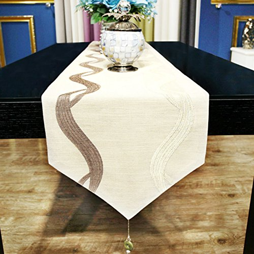 Table Runners modern chinese simple cotton linen table flag embroidery table runner hotel table decorative fabric bed flag-A 34x260cm(13x102inch) by LIANGXIAOJIE