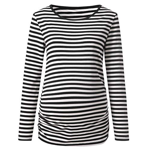 Breastfeeding Tops,Womens Maternity Stripe Long Sleeve Round Neck Blouse Shirt Tops,Medical Support (Best Lataly Bra Supports)