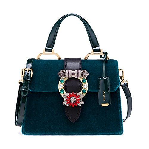 LA'FESTIN Vintage Bags for Women Blue Velvet Leather Shoulder Purses with Jewels -