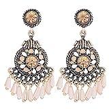 BSGSH Womens Ladies Vintage Retro Bohemian Tassel Beads Chandelier Drop Dangle Earrings (Silver)