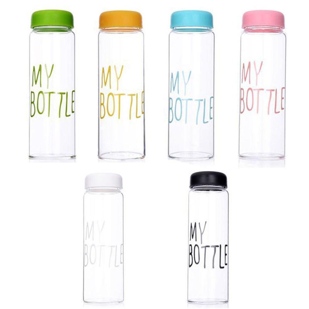 ムーアダイレクトスポーツクリア水プラスチックフルーツジュースボトル水カップProtable 500 ml旅行/水/飲料ボトル B07DL24PWS ピンク