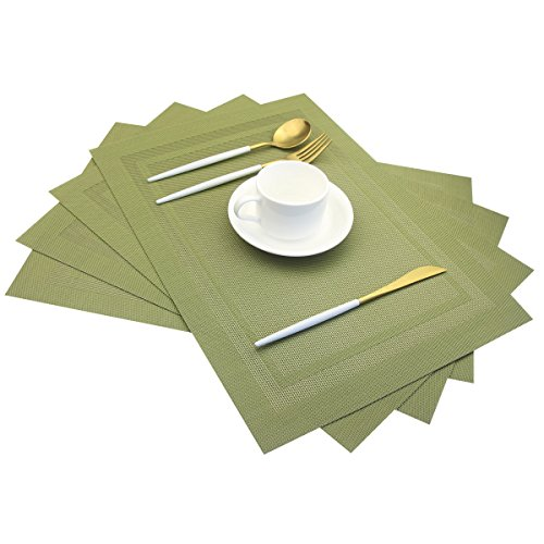 Placemats,Heat Insulation Non Slip Plastic Placemats,Washable Easy to Clean Woven Vinyl Kitchen Stain Resistant Placemats for Dining Table Set of 4(Olive Green)