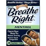 Breathe Right Nasal Strips Menthol- Sm/Med 28 Strips (1 Box)