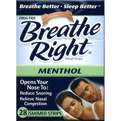 Breathe Right Nasal Strips Menthol- Sm/Med 28 Strips (1 Box) by Breathe Right