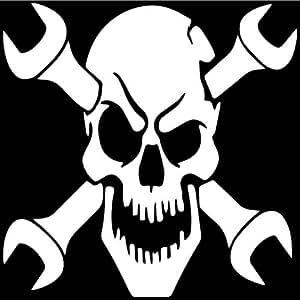 Amazon.com: Mechanic Skull Wrench Crossbones Decal Sticker ...