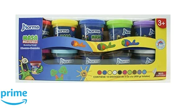 amazon com norma modeling dough x 10 assorted colors of 3oz each