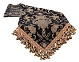 Sherry Kline China Art Table Runner, 13'' x 108'', Black