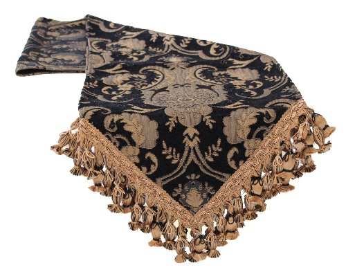 Sherry Kline China Art Table Runner, 13'' x 108'', Black by Sherry Kline