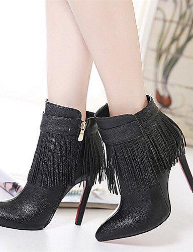 Tacón 5 Eu39 5 Negro Xzz Semicuero Casual 5 Stiletto Uk6 Mujer Cn40 us7 us8 Botas De Zapatos 5 Eu38 Cn38 Uk5 Black Black Puntiagudos OBxtBw4Hq