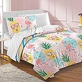 dream FACTORY Pineapple Comforter Set, Twin, Pink