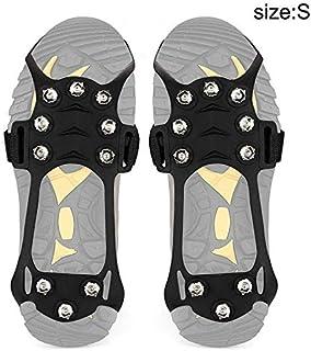 ZREAL 1 Paire Anti-dérapant 10 Crampons de Glace Crampons de Traction pour Chaussures Bottes randonnée en Plein air Escalade