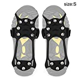 Nicknocks 1 Pair Anti-Slip 10 Teeth Ice Crampons Traction Cleat for Shoes Boots