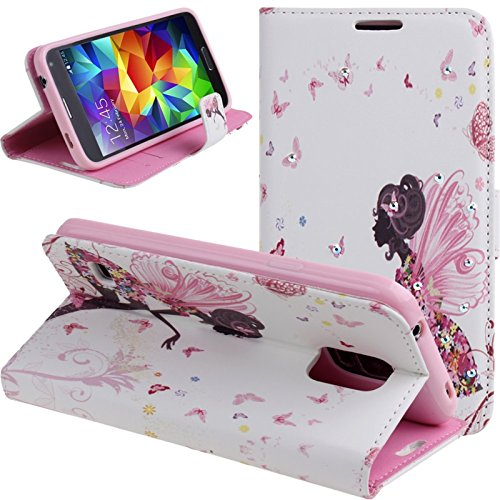 Galaxy S5 Case, Dteck(TM) Fashion Fairy Butterfly Girl Series Bling Diamond Leather Flip Stand Magnetic Wallet Case Cover Card [Slots/Money Holder] for Samsung Galaxy S5 i9600 (01 Fairy Butterfly)